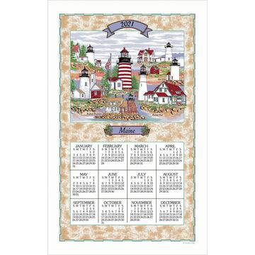Kay Dee Designs 2021 Maine Lighthouse Collage Calendar Towel