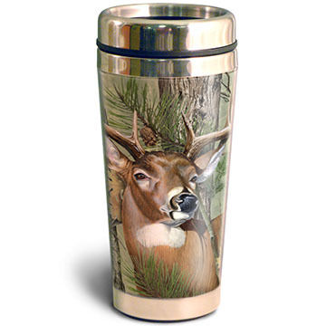 American Expedition Whitetail Deer Camo Steel Travel Mug