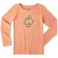 Life is Good Girl's Besties Cat & Dog Crusher Long-Sleeve Shirt