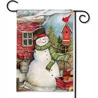 BreezeArt Red Barn Snowman Garden Flag