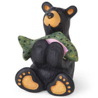 Big Sky Carvers Tiny Bear Cub with Fish Mini Figurine