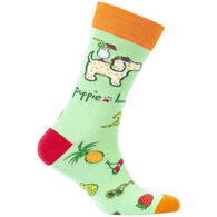 Puppie Love Women's Tropical Pup Crew Sock