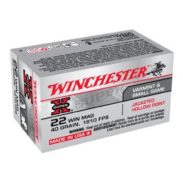 Winchester Super-X 22 Winchester Mag 40 Grain JHP Rimfire Ammo (50)