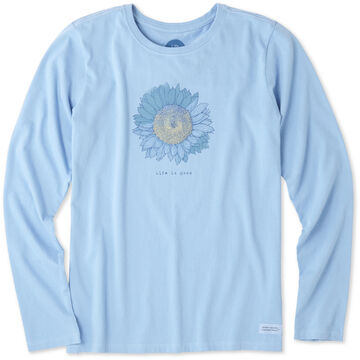Life is Good Womens Engraved Sunflower Crusher Long-Sleeve T-Shirt