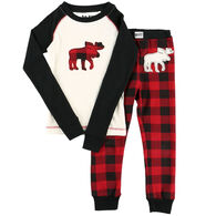 Lazy One Toddler Moose Plaid PJ Set