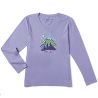 Life is Good Women's Unplug Mountain Pattern Crusher Vee Long-Sleeve T-Shirt