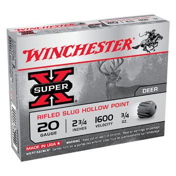 "Winchester Super-X 20 GA 2-3/4"" 3/4 oz. Rifled Slug Ammo (5)"