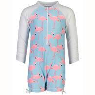 Snapper Rock Swimwear Infant Girl's Flamingo Social Long-Sleeve Sunsuit