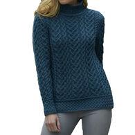 Aran Crafts Women's Heart Design High Neck Sweater