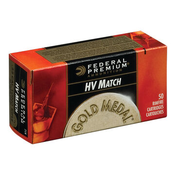 Federal Premium Gold Metal HV Match 22 LR 40 Grain LRN Rimfire Ammo (50)