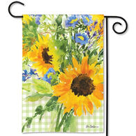 BreezeArt Sunflowers on Gingham Garden Flag