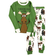 Lazy One Toddler Boy's Moose Hug PJ Set