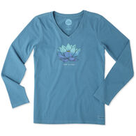 Life is Good Women's Lotus Flower Long-Sleeve Crusher V-Neck T-Shirt