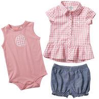 Carhartt Infant Girl's Plaid Short Gift Set, 3-Piece