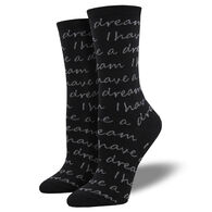 Socksmith Design Women's I Have A Dream Crew Sock