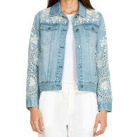 Johnny Was Women's Ivory Eyelet Crop Denim Jacket
