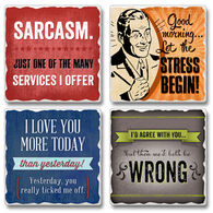 Ridge Top Kountry Krystal Sarcasm Coasters, 4-Pack