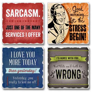 Ridge Top Kountry Krystal Sarcasm Coasters, 4-Pack