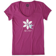 Life is Good Women's Hummingbird Flower Smooth Scoop Short-Sleeve T-Shirt