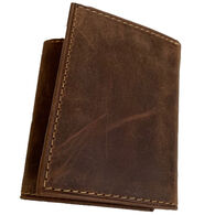 Deerfield Leathers Men's RFID Crazy Horse Distressed Leather Trifold Wallet
