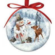 Cape Shore Spliced Ball Snowman And Friends Ornament