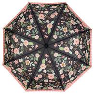 Karma Women's Charcoal Flowers Travel Umbrella