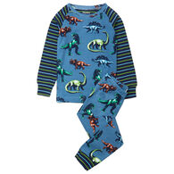 Hatley Boy's Painted Dinos Organic Cotton Raglan Pajama Set