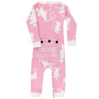 Lazy One Infant Girl's Classic Moose Pink Flap Jack