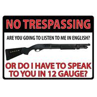 Rivers Edge No Trespassing Shotgun Embossed Tin Sign