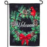 Evergreen Winter Welcome Wreath Garden Flag