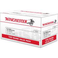 Winchester USA 5.56mm NATO 55 Grain FMJ Rifle Ammo (150)