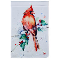 Evergreen Cardinal and Holly Satin Garden Flag