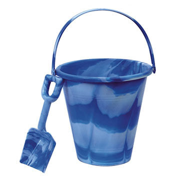 """Sola Beach Toys 9"""" Marbled Pail and Shovel Set"""