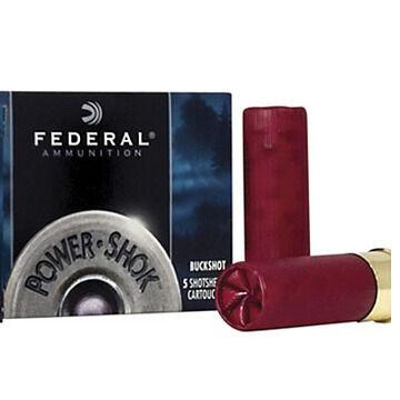 "Federal Power-Shok Buckshot 12 GA 2-3/4"" 9 Pellet 00 Buck Shotshell Ammo (5)"