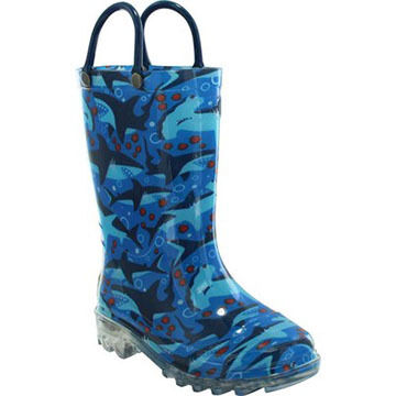 Western Chief Boys Shark Chase Lighted Rain Boot
