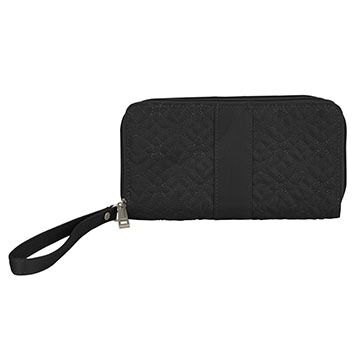 Travelon Signature Embroidered Double Zip Clutch Wallet