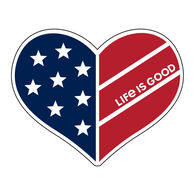 Life is Good Flag Heart Small Die Cut Decal