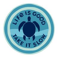 "Life is Good Take It Slow Turtle 4"" Circle Sticker"