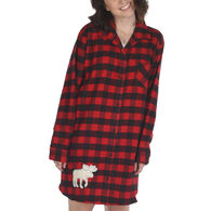 Lazy One Women's Flannel Moose Plaid Night Shirt