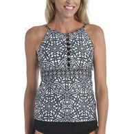 Maxine Swim Group Women's 24th & Ocean Mosaic Tile Strappy High Neck Tankini Swimsuit Top