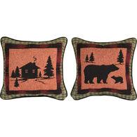 Manual Woodworkers & Weavers Bear Lodge Cabin Pillow