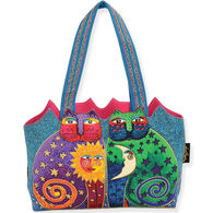 Sun N Sand Women's Celestial Felines Cut Out Medium Shoulder Tote Bag