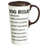 Evergreen Dog Rules Ceramic Travel Cup w/ Lid