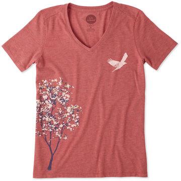 Life is Good Women's Tree Bird Cool Vee Short-Sleeve Shirt