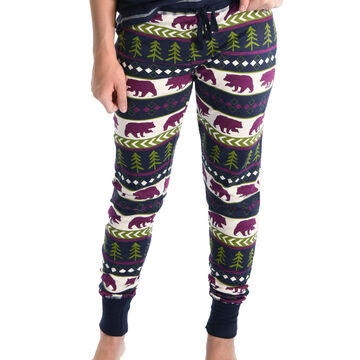 Lazy One Womens Bear Fair Isle Legging Pajama Pant