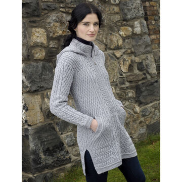 Aran Crafts Womens Ribbed Hooded Sweater Coat