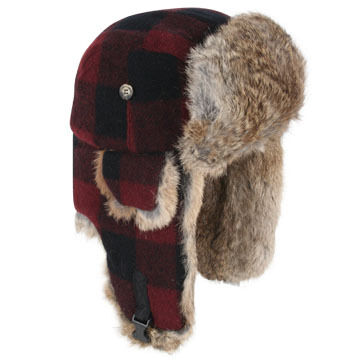 Mad Bomber Mens Wool Plaid with Rabbit Fur Bomber Hat