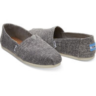 TOMS Women's Steel Grey Washed Denim Classic Alpargata Shoe