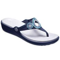 Crocs Women's Sanrah Embellished Diamante Wedge Flip Flop Sandal