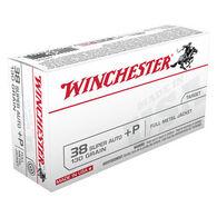 Winchester USA 38 Super Automatic +P 130 Grain FMJ Handgun Ammo (50)